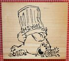 Hungry Bear with Trash Can on Head by Judith T 36 Retired Rubber Stamp FUNNY