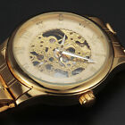 Vintage Roman Dial Full Steel Automatic Mens Skeleton Mechanical Wrist Watch Uhr