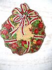 Vintage Image Glittered CHRISTMAS Ornament -Holiday Wreath with Bow