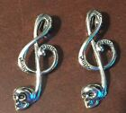 HALLOWEEN MUSIC NOTE SKULL SILVER TONE ALLOY CHARM LOT OF 2 NEW FASHION JEWELRY