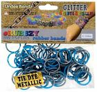 Undee Bandz Rubbzy 100 METALLIC SILVER  BLUE GLITTER Tie Dye Rubber Bands with