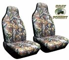Forest Gray Camo High Back Seat Cover Pair for Pickups Surreal Camouflage C 2
