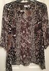 Kim Rogers Animal Print Semi Sheer 3 4 Sleeves Button Front Top Blouse Size L