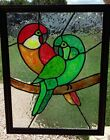 Hand painted stained glass, parrots, leaded art glass, birds, Tiffany style art