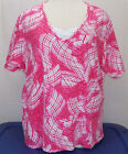 Catherines Hot Pink Geometric Layered Look T Shirt Size 4X 30 32W EUC