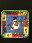 SANGO Sweet Shoppe Christmas Snowman Large Hand Painated Serving Platter - 10.5