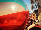 Gigantic Transparent Large Beach Ball 8 Ft Tall Inflated 12 Feet Pole to Pole