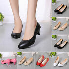 New Womens Patent Leather Pointed Toe Heel Pump Shoes Work Shoes Slip On Pumps