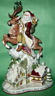 LARGE FITZ & FLOYD CENTERPIECE St NICK SANTA DEER 18.5