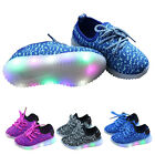 Fashion Kid Unisex Sport LED Light UP Canvas Casual Sneakers Athletic Knit Shoes