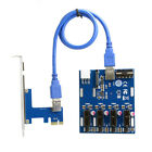 PCI e Express 1x to 4 1x Switch Multiplier Hub Riser Card with USB 30 Cable