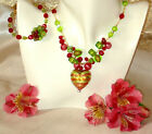 REAL Italian Made Murano Glass Necklace with Free Bracelet Berry Caviar Heart