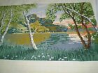 Very Rare  Vintage Hand-Embroidered Tapestry size 21''/12 '' Multi-Color