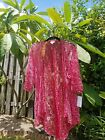 LuLaroe Lindsey Beach Cover Up or Kimono Small Red and Light Pink