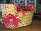 NWT United colors of benetton Hot Pink Natural straw Red fabric purse Handbag