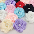20pcs Flower Satin Ribbon Pearl Hair Bow Wedding Appliques Sewing Craft 13 Color