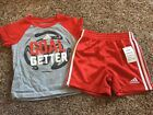 Adidas 12 Month Baby Boys 2 Piece Summer Shirt And Short Set Red