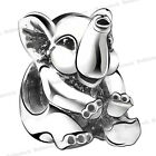 925 European Sterling Animal Silver Charms Elephant Bead fit Chain Bracelet H12