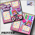 HOW WE ROLL BICYCLE GIRL printed 2 premade scrapbook pages paper layout CHERRY