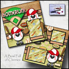 BASEBALL boy PRINTED 2 PREMADE SCRAPBOOK PAGES layout paper piecing BY CHERRY