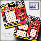 WERE ALL EARS DISNEY girl printed 2 premade scrapbook pages paper layout CHERRY