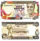 ZAMBIA 5 Kwacha Banknote World Paper Money UNC Currency Pick p-30a Eagle Bird