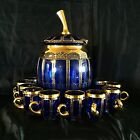 MOSER CABOCHON GLASS SET PUNCH BOWL  10 CUPSDARK BLUE GLASS WITH GOLD