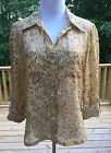 Ruby Red Womans Blouse Top Size 10 P 3 4 Sleeve Button Semi Sheer Yellow Brown