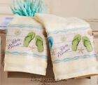 Flip Flop Bathroom Hand Towel Set Cotton Coastal Beach Summer Themed Fun NEW
