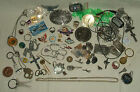 Mens junk drawer jewelry lot keychains Airline stuff Fools gold Geode pieces