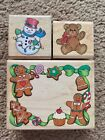Lot of 3 Christmas Themed Rubber Stamps