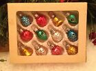 Box Vtg Mini Feather Tree Indent Heart Bell PineCone Glass Xmas Ornament Germany
