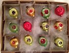 12 Antique Mini Indented LANTERS Feather Tree Japan Embossd Glass Xmas Ornament