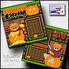 PUMPKIN CARVING halloween 2 premade scrapbook pages paper PRINTED fall CHERRY