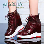 Womens Python Real Leather Fashion Sneakers Platform Wedge Ankle Boots Oxfords