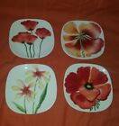 Fitz & Floyd ~In Bloom~ LOT OF 4 HANGABLE SQUARE FLOWER PLATES