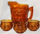 VINTAGE INDIANA AMBER GLASS KING CROWN THUMBPRINT PITCHER 3 CUPS