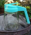 FEDERAL HOUSEWARES 50'S 60's Aqua Glass Syrup Pitcher Retro Turquoise 1 Cup