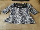ANNABELLE BLACK  WHITE LEOPARD PRINT BLOUSE WITH SHEER TOP AREA SIZE 1X