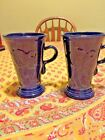 A PAIR ( SET OF 2 ) MATCHING FIESTA HLC USA COBALT CAPPUCCINO LATTE MUGS LKNU!!
