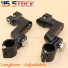 """1"""" Black Foot Pegs Foot Rest Mounts Clamps For Hraley Davidson Kawasaki US"""