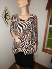 JM Collection Brown Animal Print Polyester Blend 3 4 Sleeve Top Plus 2X