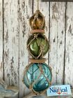 (3) Aqua Glass Fishing Floats On Rope ~ Nautical Fish Net Decor ~ Light Blue