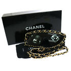 ULTRA RARE Auth CHANEL CC Chain Sunglasses Black Eye Wear Italy Vintage V09303