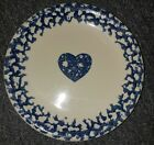 2 TIENSHAN FOLK CRAFT BLUE SPONGE HEARTS 7 1/2'' SALAD PLATES GOOD Condition
