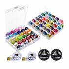 Paxcoo 72 Pcs Bobbins and Sewing Thread with Case for Brother Singer Babylock...