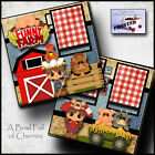 FUNNY FARM 2 PREMADE SCRAPBOOK PAGES Paper printed layout 4 album BY CHERRY