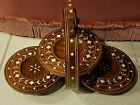 Vintage 3 Tier Wood Collapsible Folding Snack Tray With Bone Inlays