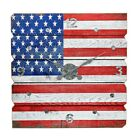 American Flag Plank Wall Clock Size 23L x 225W x 23H in Crafted Of Wood and