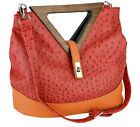 Red  Orange Ostrich Triangle Wood Handle Tote Purse Shoulder Bag Large NEW